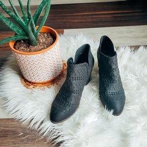 Fergalicious leather cutout booties